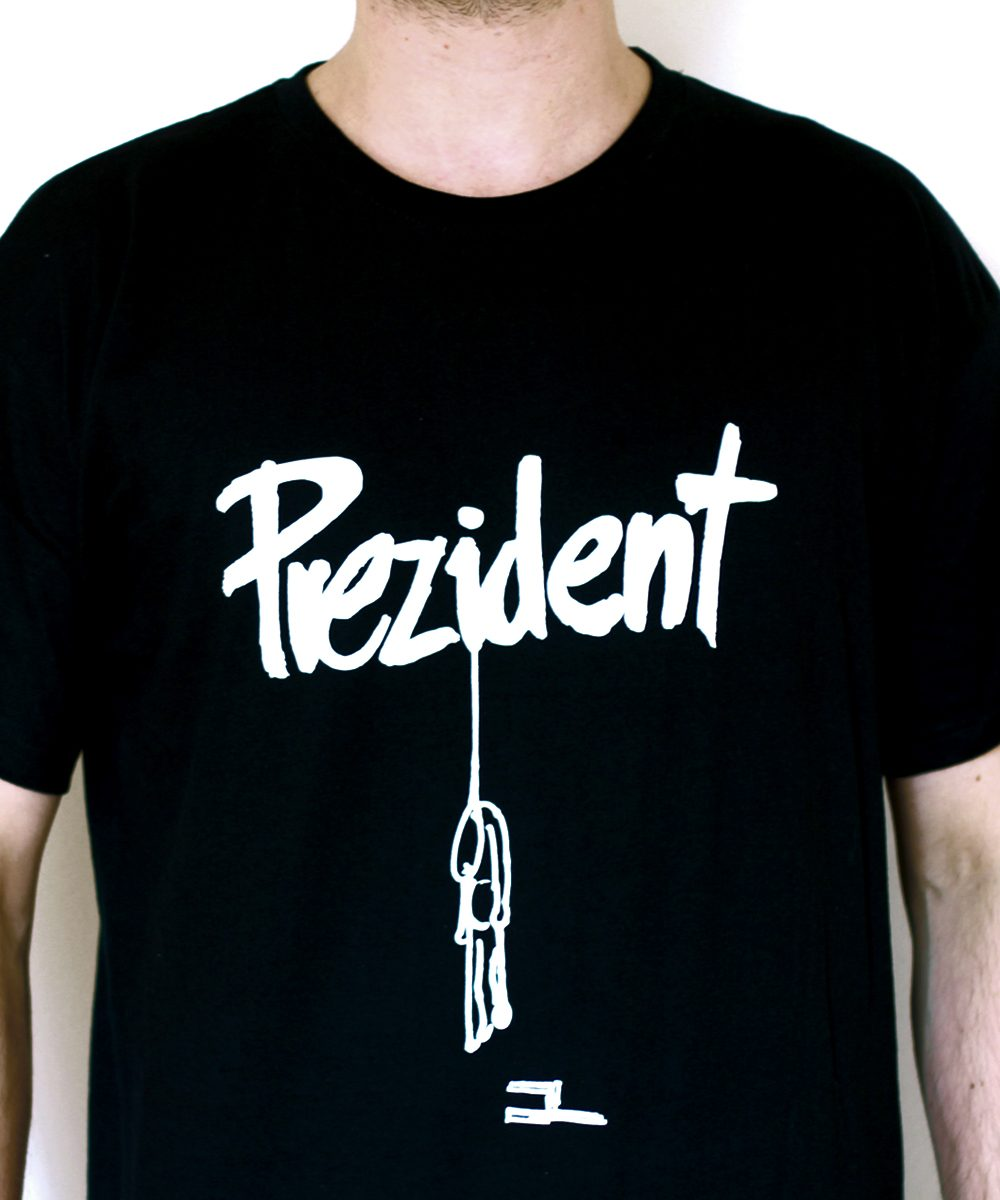 Prezident Shirt weiß auf schwarz